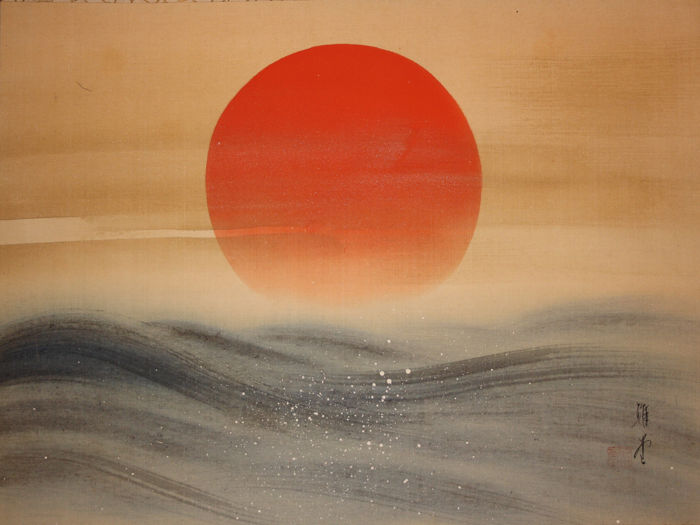 Pergaminho de parede - Papel, resina, Seda - Rising sun and waves with signature and seal  'Gadō' 雅堂 - Japão - ca 1930-45 (Early Showa)