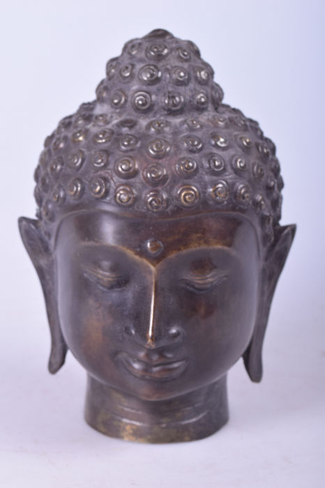 Buddha head - Bronze - Burma - Late 20th century