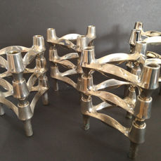 BMF  - Convolute of 12 stackable candle holders in original boxes with decoration
