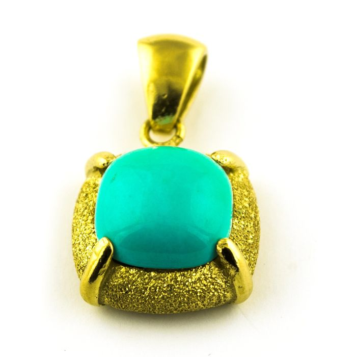 18 kt. Yellow gold - Pendant Turquoise