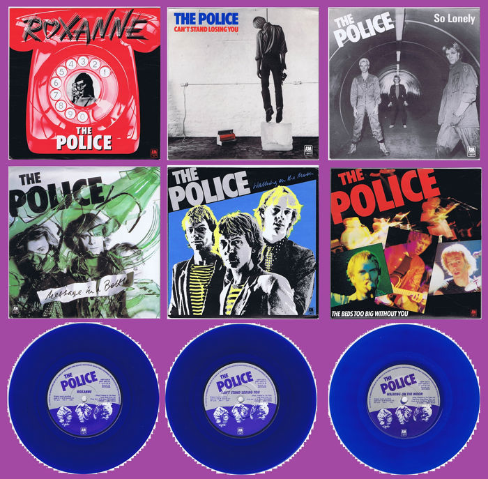 "THE POLICE - 6x 7"" 45RPM set compilation limited in BLUE vinyl - (Set of 6x singles with sleeves and inlays) - 1980/1980"