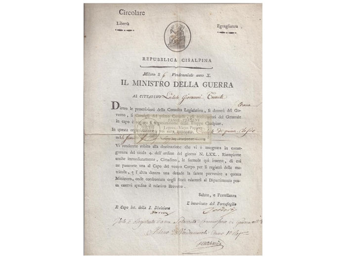 Giovanni Tordoro - Signed Letter. Milano. Repubblica Cisalpina. Nomination of a  Lieutenant - 1798