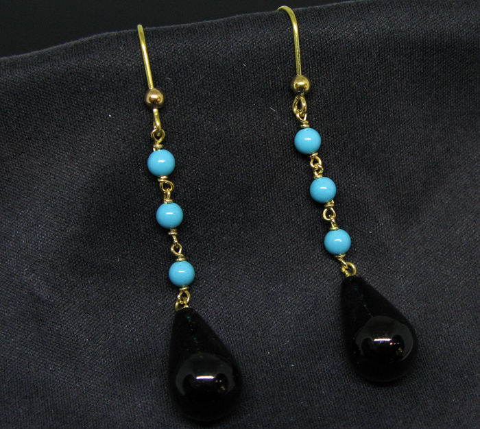 18 kt. Yellow gold - Earrings Turquoise round beads Ø 3.7 mm - black spynel 16 x 10 mm