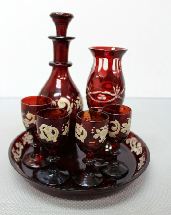 Antique red glass service - Glass