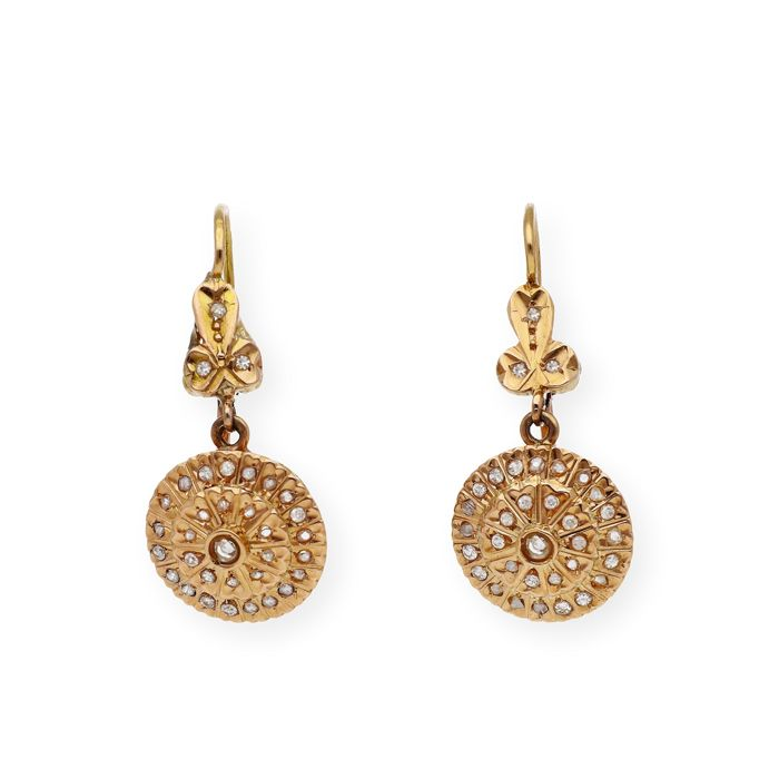 18 kt. Yellow gold - Earrings - 0.90 ct Diamond
