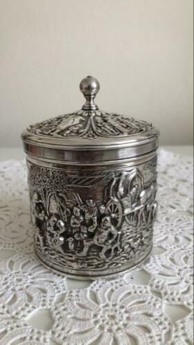Vintage Herbert Hooijkaas silver-plated tea caddy (1) - Silverplate