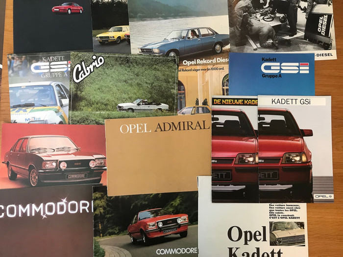 Brochures / catalogues - 15 x Opel Catalogues Rekord,GSI,GSE GroupA, Commodore,Admiral - 1965-1990