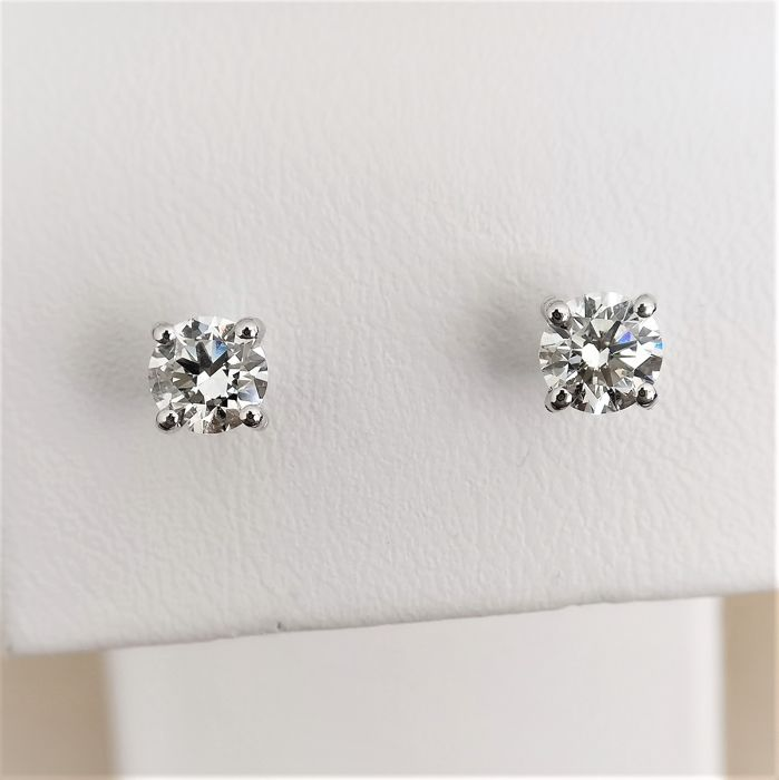 18 quilates Oro blanco - Pendientes - 0.76 ct Diamante