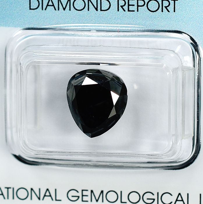 鑽石 - 4.84 ct - 梨形 - 經顏色處理, Black - N/A - NO RESERVE PRICE