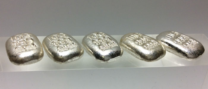 5 x 10 grams - Prata .999 - Atlantis Mint - Skull & Crossbones