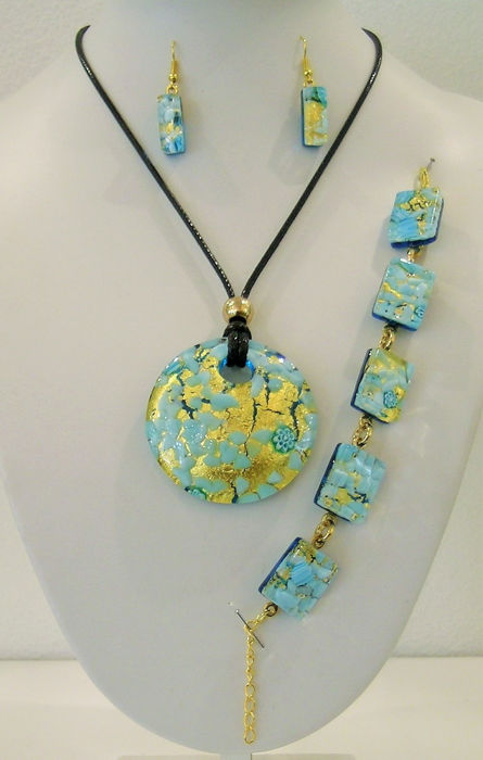 Rubelli Vetri D'Arte - Murano - Pendant, bracelet, earrings, 24kt gold leaf glass - Murano glass and 24kt gold leaf