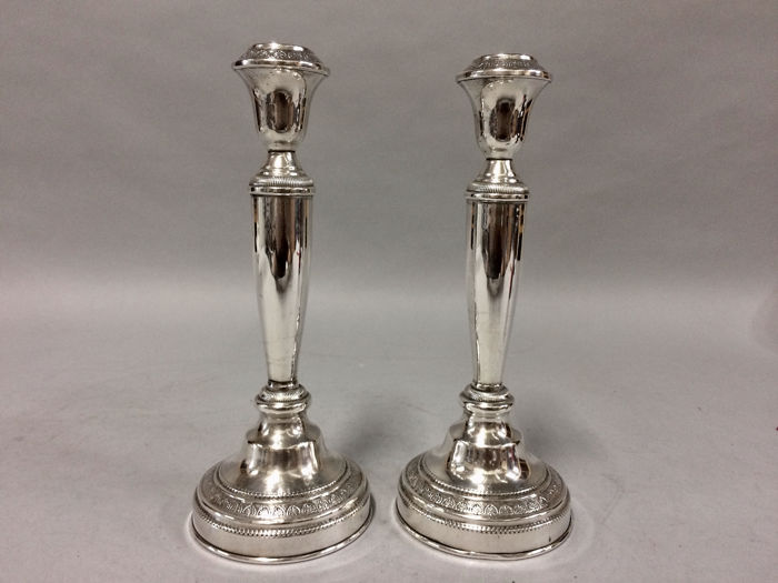 Set single-light candlesticks with classic decor - .925 silver - Europe - Period 1900 - 1920