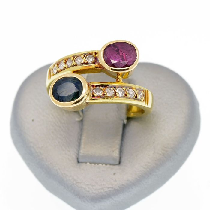 18 kt. Yellow gold - Ring Ruby and Sapphire - Diamonds