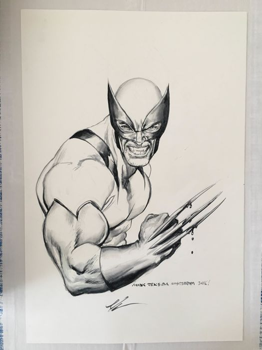 Wolverine, X-Men - Wolverine torso pencil + ink by Mark Texeira - Loose page - First edition