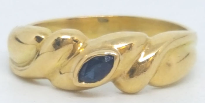 18 kt. Yellow gold - Ring - 0.10 ct Sapphire