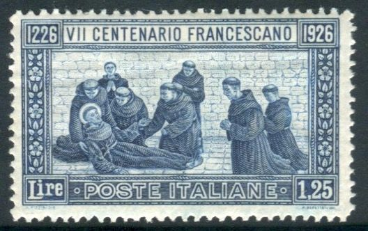 Royaume d'Italie 1926 - St. Francis 1.25 cents light blue perforated 13 1/2 - Sassone N. 196