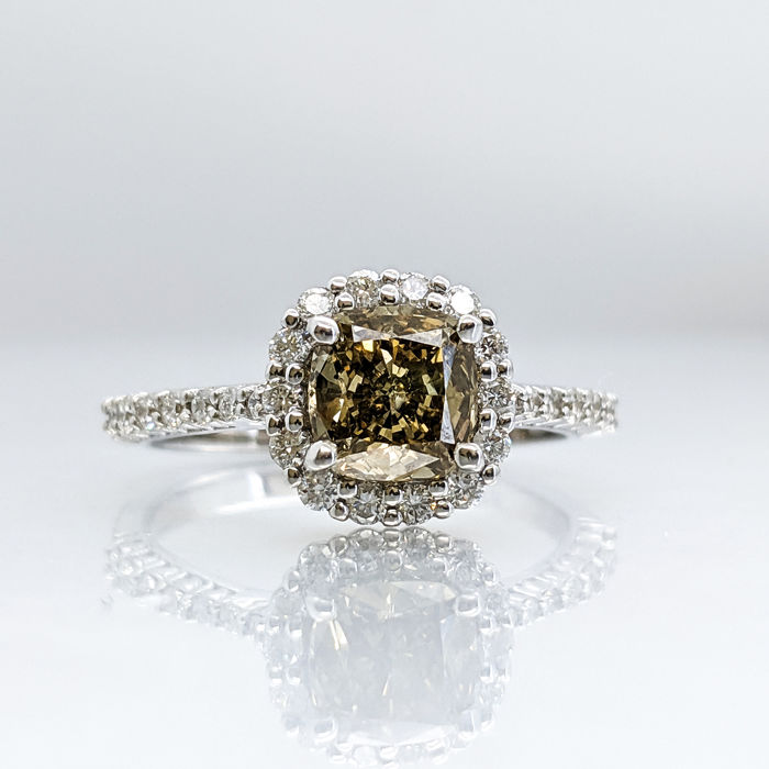 18 kraat Hvidguld - Ring - 1.31 ct Diamant - Ingen Reserveringspris