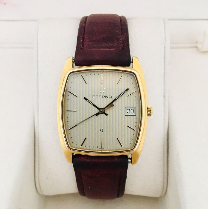 "Eterna - ""Q"" - Yellow Gold-Plated Gents Wristwatch - Men - 1980-1989"