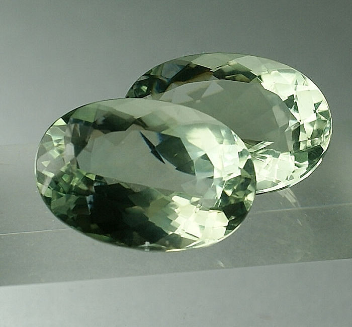 2 pcs Green Prasiolite - 30.04 ct