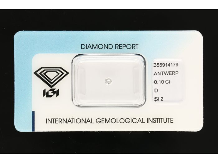 1 pcs Diamante - 0.10 ct - Brillante - D (incoloro) - SI2