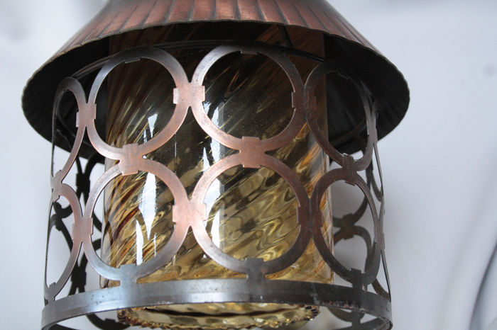 Amsterdam School style copper with glass lamp, handmade