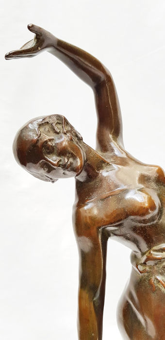 De Bremaecker Eugene (1879-1963) - Dancing lady-Art Deco bronze sculpture