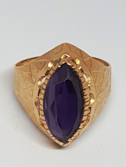 18 kt. Yellow gold, amethyst cut marquise color sapphire tones - Ring, ancient splendid - 9.00 ct Amethyst