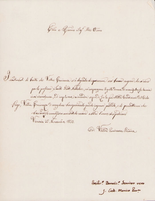 Cardinal Jacopo Monico  - Autograph; Christmas Greetings Letter to Cardinal Tosti from Venice - 1850