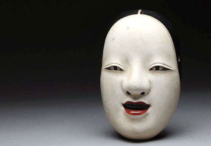Noh mask (1) - Lacquer, Wood - Very fine, marked - Japan - Meiji period (1868-1912)