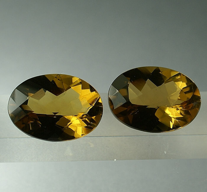 2 pcs brownish orange Citrine - 20.64 ct