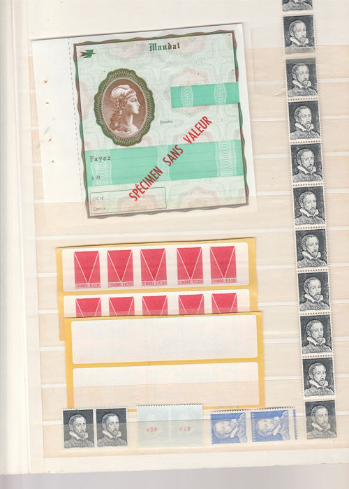 France - End of catalogue with strike stamps - Instructional course - specimens, etc. - Maury