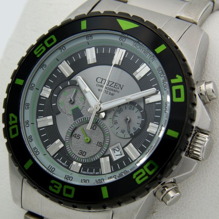 "Citizen - Chronograph Tachymeter ""Grey-Green Tone"" - ""NO RESERVE PRICE"" - Uomo - 2011-presente"
