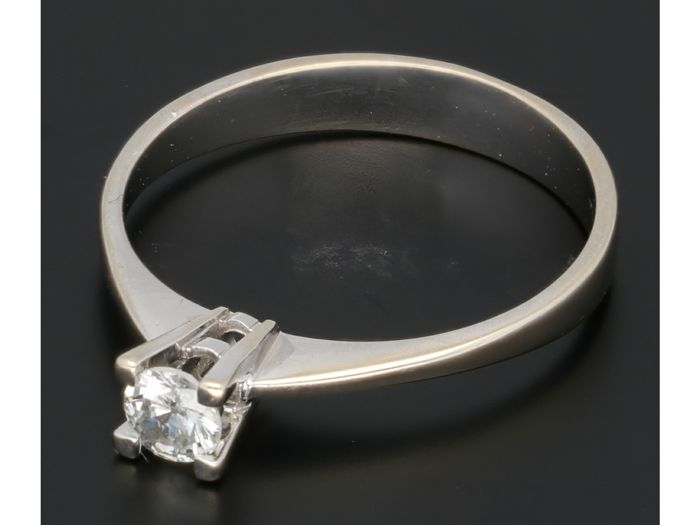 18 carats Or blanc - Bague - 0.17 ct Diamant