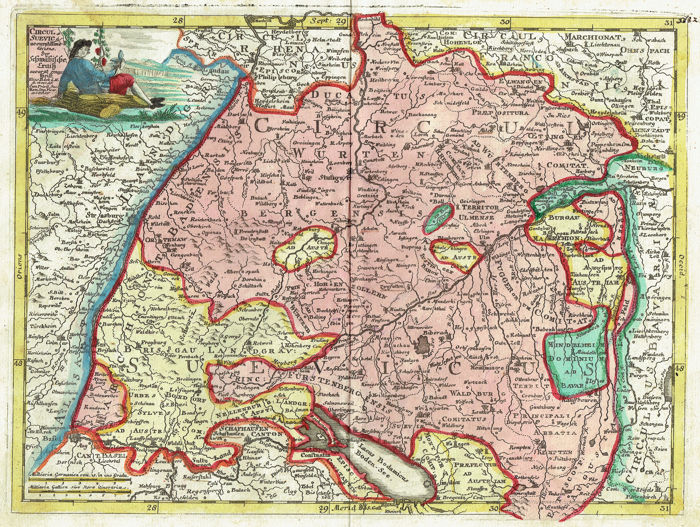 Map Of Germany Ulm.Germany Swabia Baden Wurttemberg Stuttgart Augsburg Kempten Ulm J A Erdman Machenbauer E Beck Circulus Svevicus 1721 1750 Catawiki