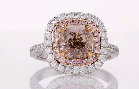 D2U - 18 karaat Witgoud - Ring - 3.01 ct Fancy Pinkish Brown - Diamant