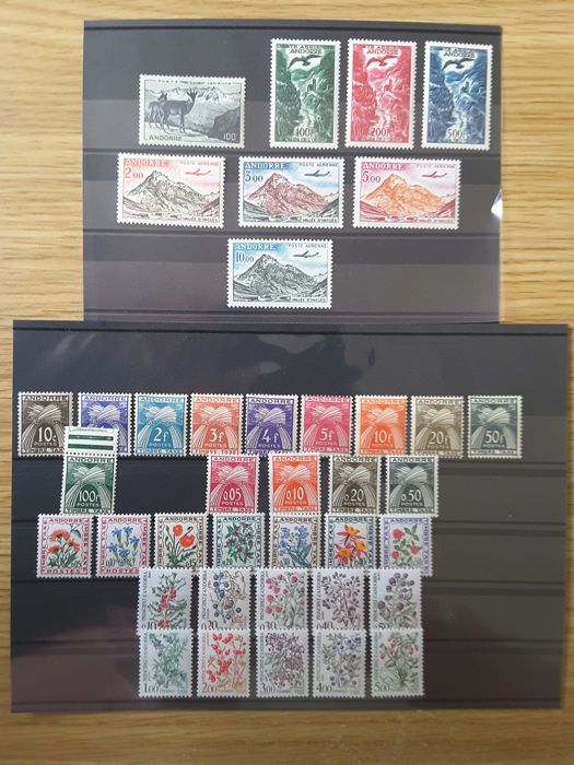 Andorra - Frans 1946/1985 - 40 complete years of tax stamps and airmail - Yvert Taxe 32 à 62 et poste aérienne 1 à 8