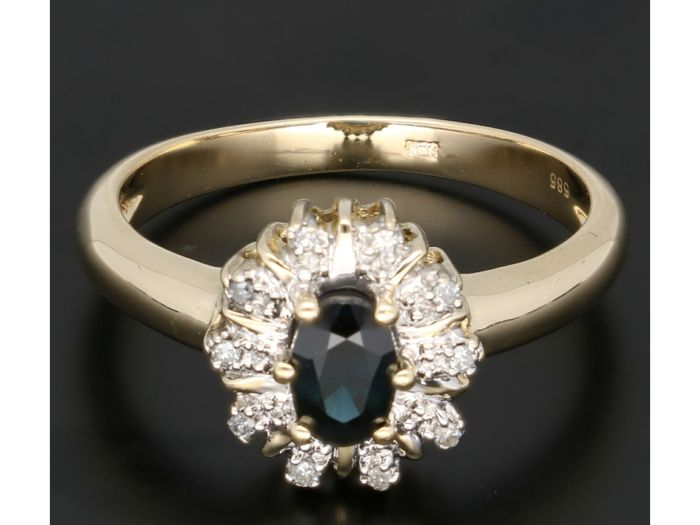 14 kt Gelbgold - Ring - 0.05 ct Saphir - Diamant