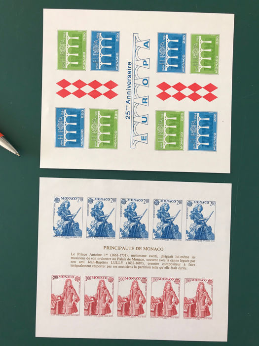 Monaco 1984/1985 - Two EU-cept sheets imperforate: Bridges and Prince Antoine - Maury 1453A en 1494A