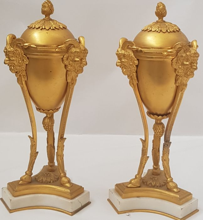 Pair of Potiches or Cassolettes with Fauns - Bronzo (dorato) - Napoleon III