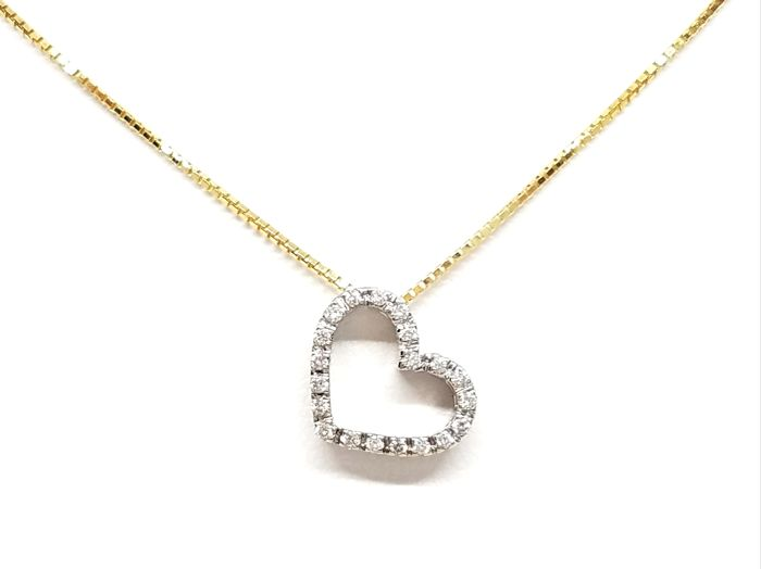 18 kts. Yellow gold - Necklace with pendant - 0.13 ct Diamond