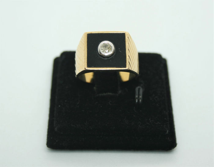 18 carats Or jaune - Bague - 0.13 ct Diamant