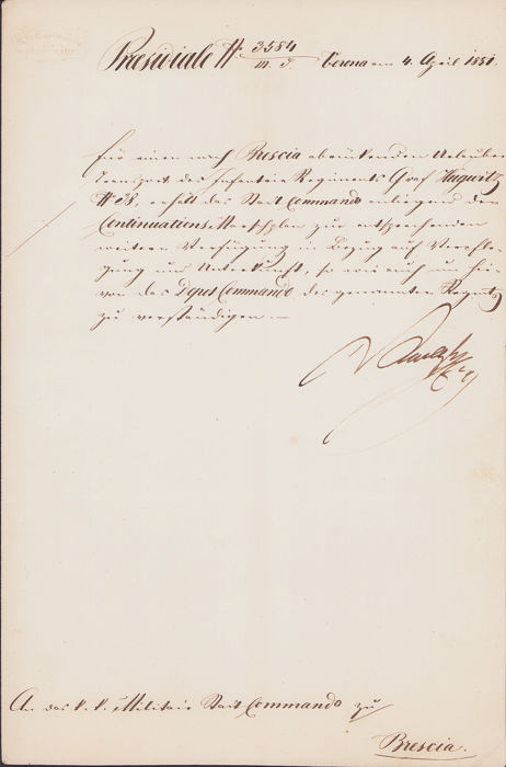 Josef Radetzky, Austrian Field Marshal - Autograph; Military Order of Troup Mouvement to the Brescia Commando - 1851