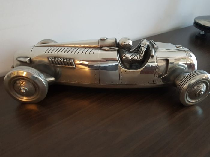 Decorative object - Unieke zilvertinnen Auto Union Type C schaal 1/12 ! - 1936