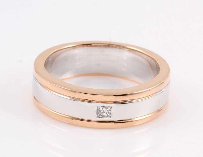 14 kt. Pink gold, White gold - Ring - 0.07 ct Diamond