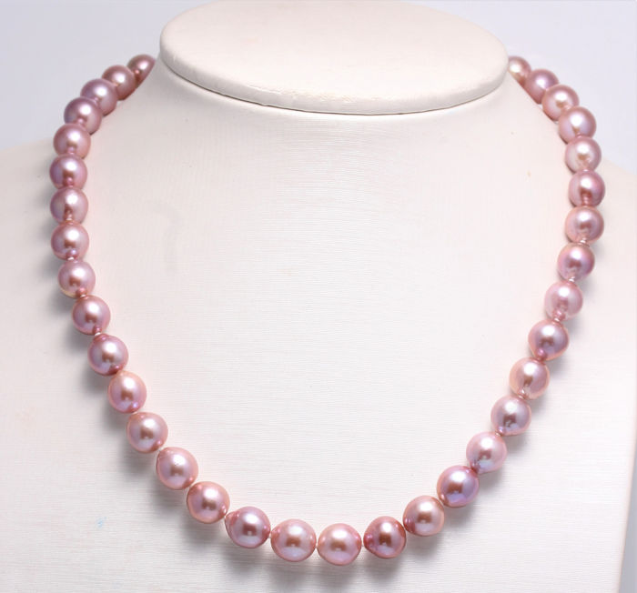 NO RESERVE PRICE - 925 Silver - 9x10mm Beautiful Colour Cultured Pearls - Necklace