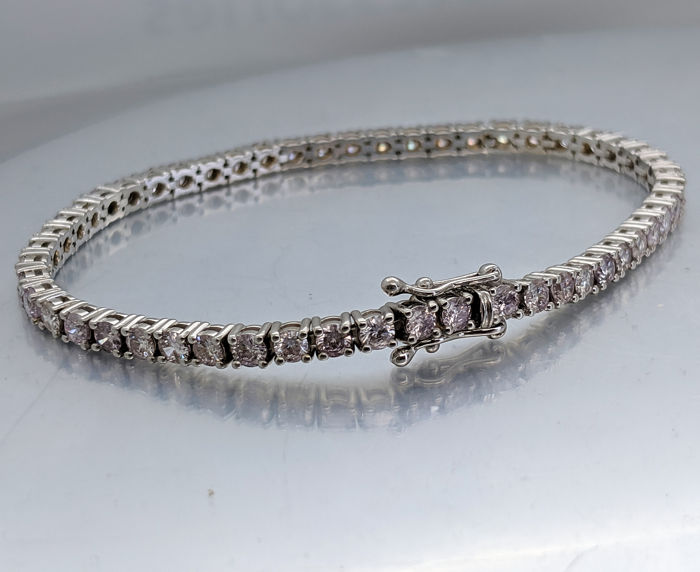 18 karaat Witgoud - Armband - 5.54 ct Diamant - Fancy Light Pink - Geen reserveringsprijs