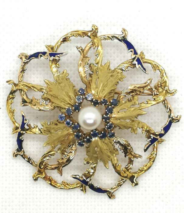 18 kt. Yellow gold - Brooch, Necklace Pearl - Sapphires