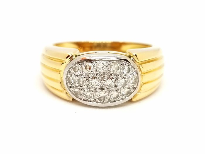 18 kts. Geel goud - Ring - 0.16 ct Diamant