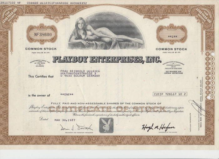 Aktie - Playboy Enterprises, Inc. von 1977 - United States Trust Company of New York - Bank, Dokument, Limitierte Auflage, Sammlung - Papier