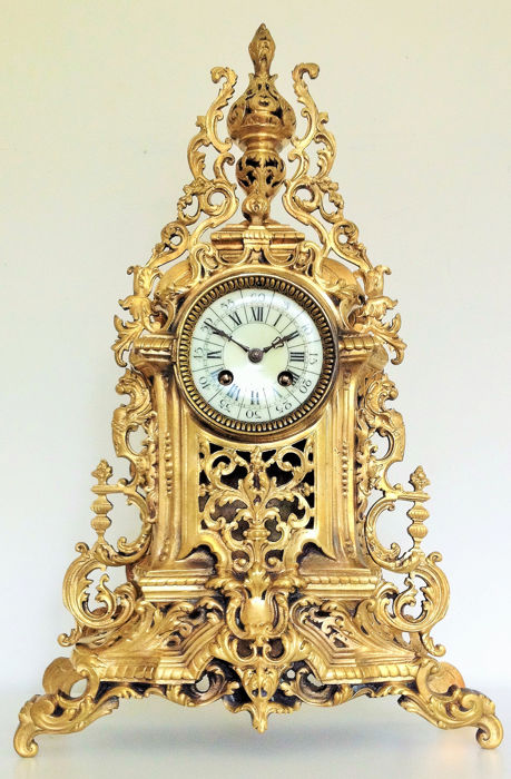 A.D Mougin cathedral Gold Plated Bronze Clock - Marked - Bronze, Gilt - about 1890